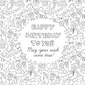 Happy birthday party greeting card with hand drawn pattern