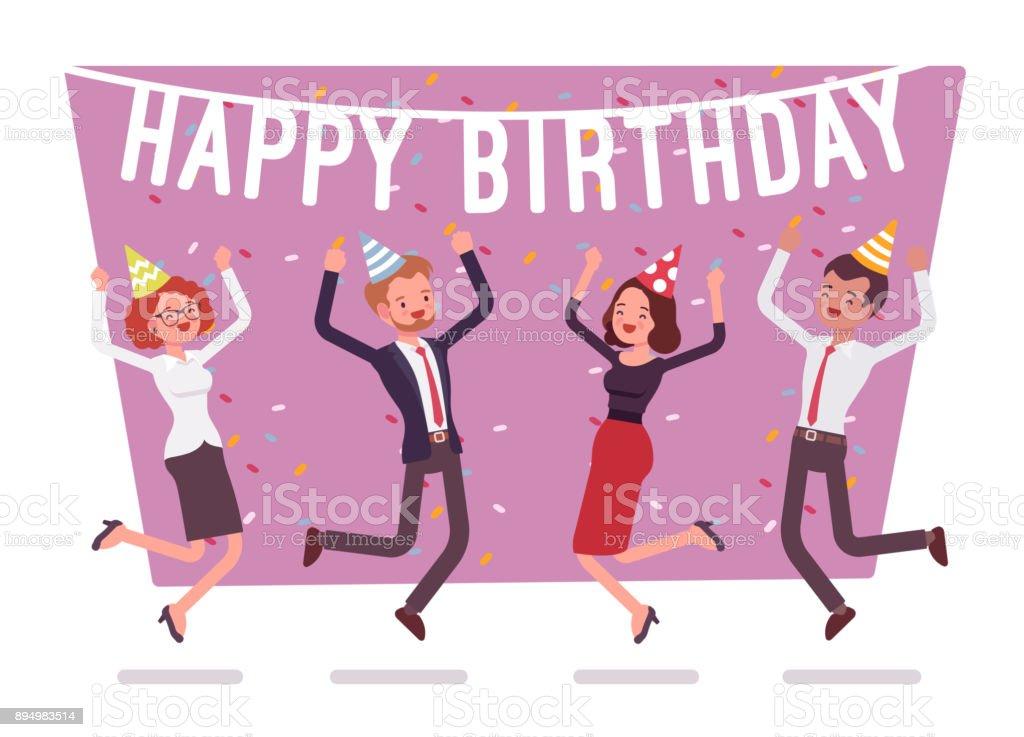 Alles Gute Zum Geburtstagpartei Im Büro Stock Vektor Art und mehr ...