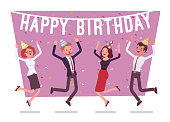 Happy birthday party in office. Festive gathering of company employees at coworker birth anniversary, celebrating excited at corporate event. Vector business concept flat style cartoon illustration