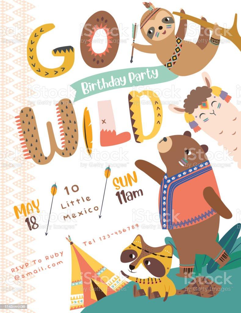Happy Birthday Party Invitation Card With Cartoon Tribal