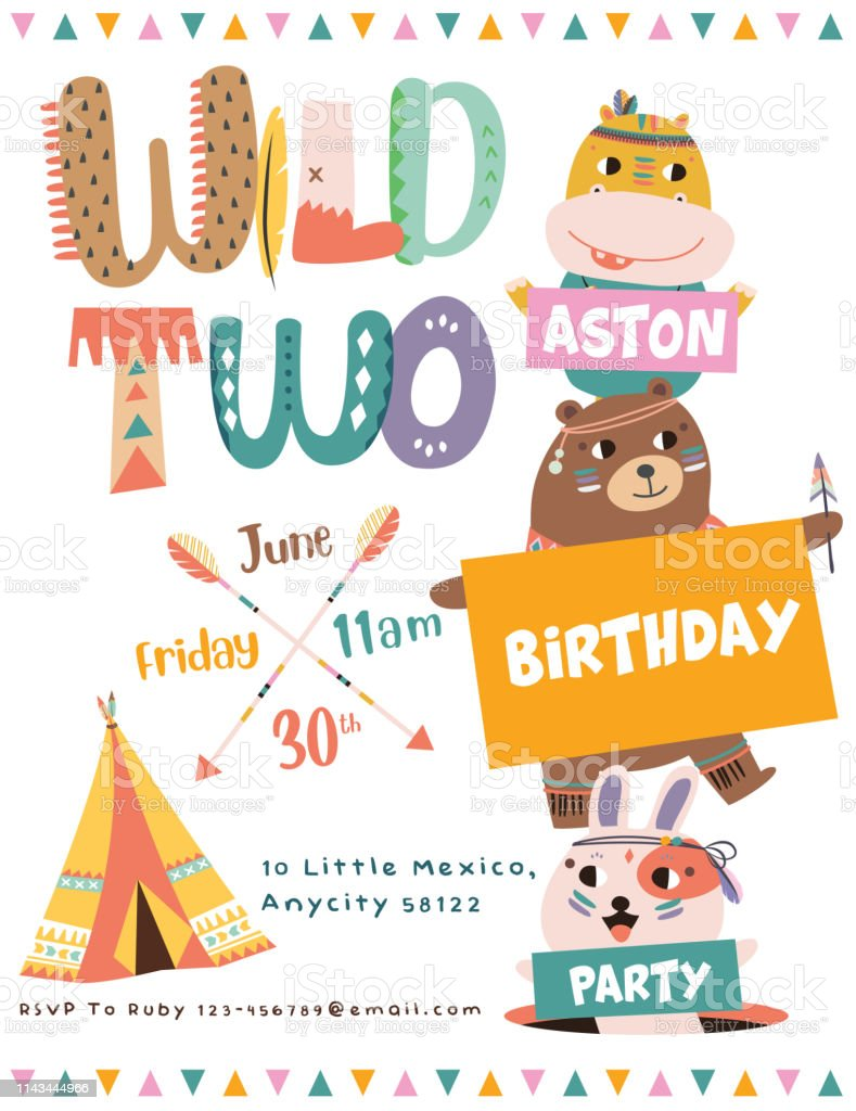 Ilustración De Tarjeta De Invitación Fiesta De Cumpleaños