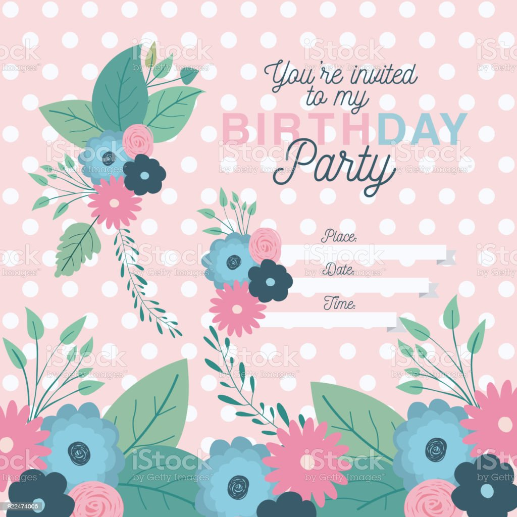 Happy birthday party invitation with floral decoration stock vector happy birthday party invitation with floral decoration royalty free happy birthday party invitation with floral izmirmasajfo