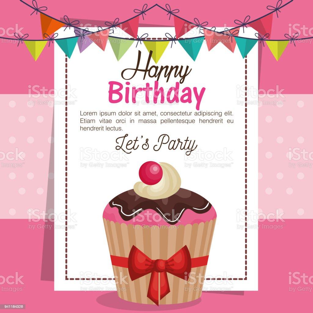 Happy Birthday Party Invitation With Sweet Cupcake Stock Vector Art ...