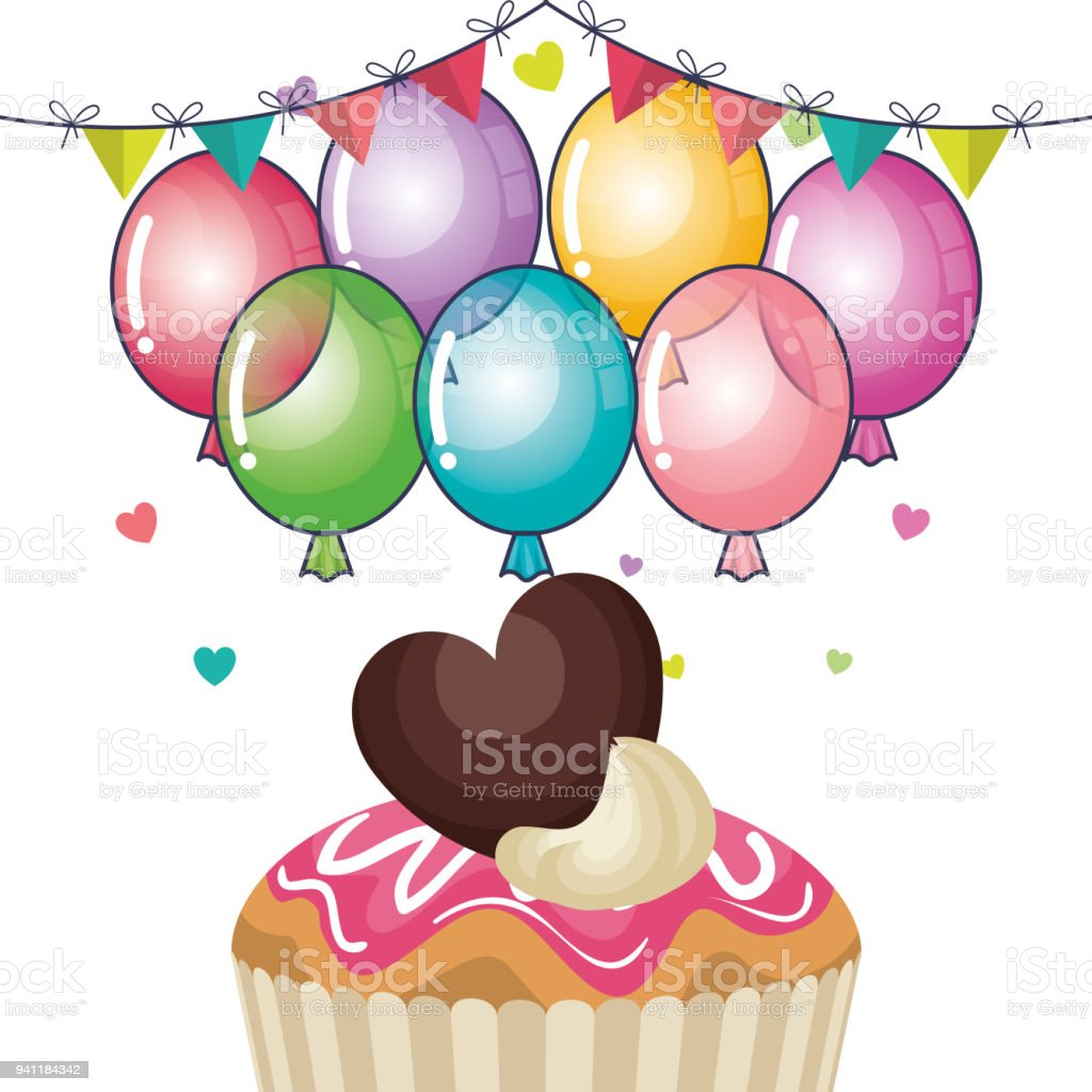 Happy Birthday Party Invitation With Sweet Cupcake Stock Vector ...