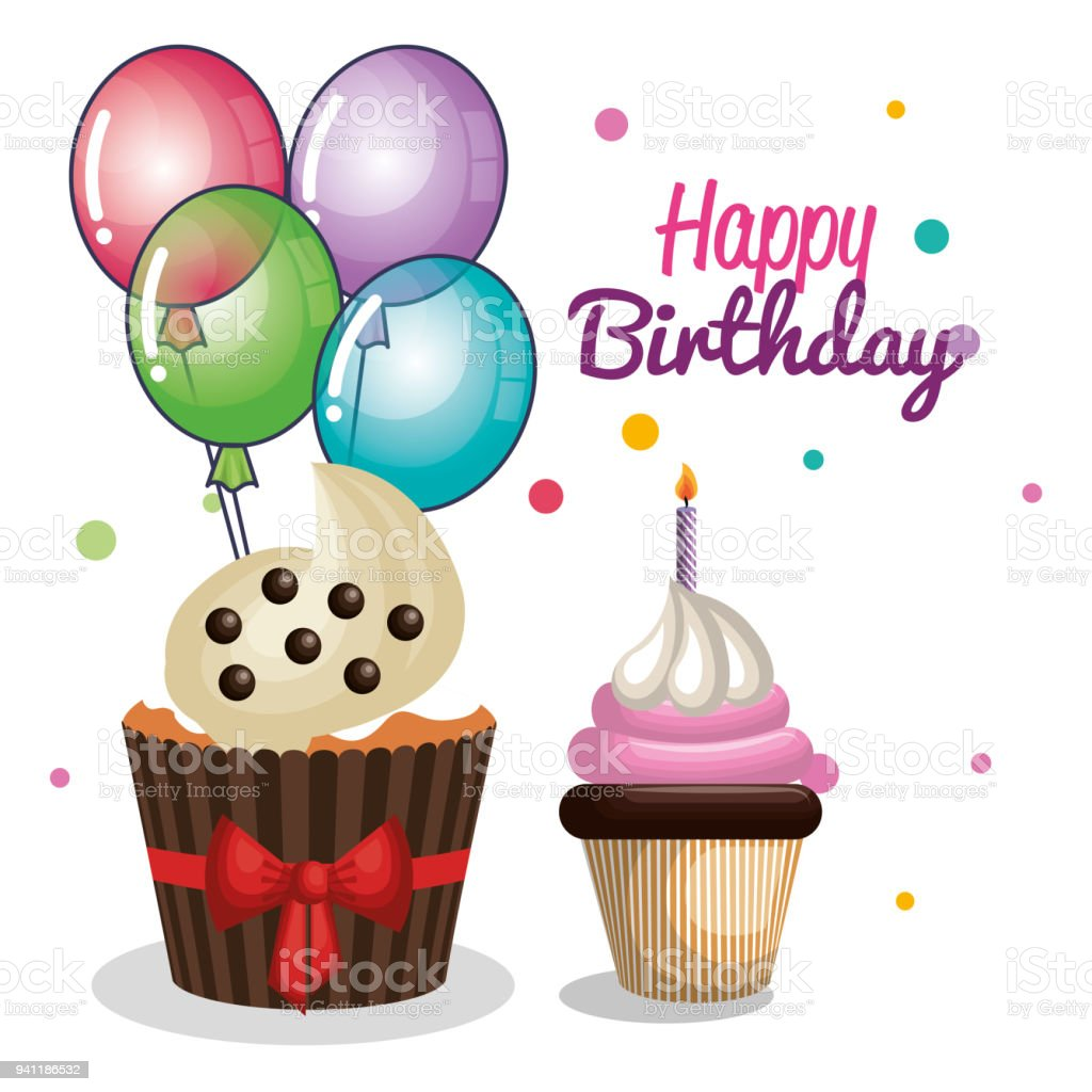 Happy birthday party invitation with sweet cupcake stock vector art happy birthday party invitation with sweet cupcake royalty free happy birthday party invitation with sweet filmwisefo