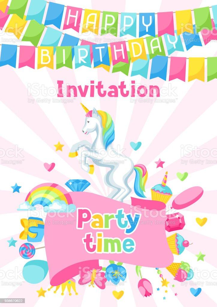 Happy birthday party invitation with unicorn and fantasy items happy birthday party invitation with unicorn and fantasy items happy birthday party invitation with unicorn and stopboris Gallery