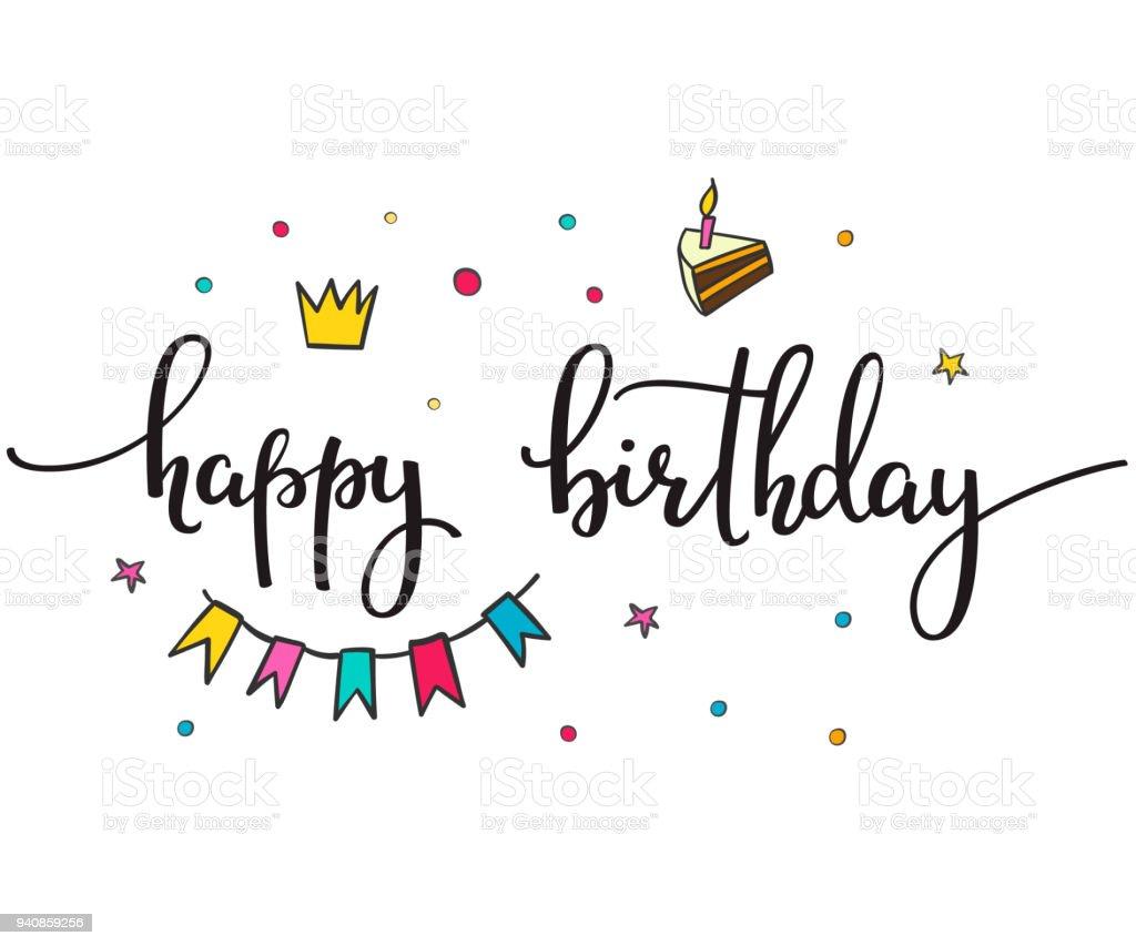 Ilustración De Feliz Cumpleaños Letras Tipografía Set Y