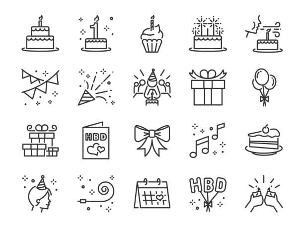 zestaw ikon linii happy birthday party. zawarte ikony jako obchody, rocznica, impreza, gratulacje, ciasto, prezent, dekoracja i więcej. - ciasto stock illustrations