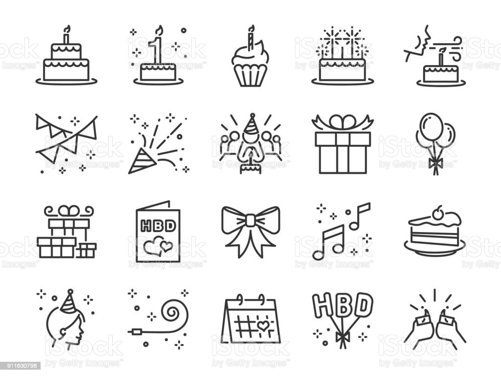 Happy Birthday Party line icon set. Included the icons as celebration, anniversary, party, congratulation, cake, gift, decoration and more. vector art illustration