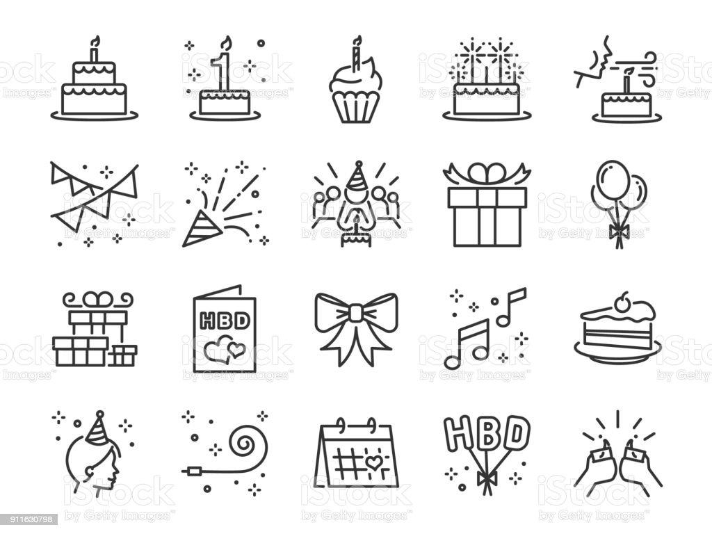 Happy Birthday Party Linie Icon-Set. Enthalten die Symbole als Feier, Jubiläum, Party, Gratulation, Kuchen, Geschenk, Dekoration und mehr. – Vektorgrafik