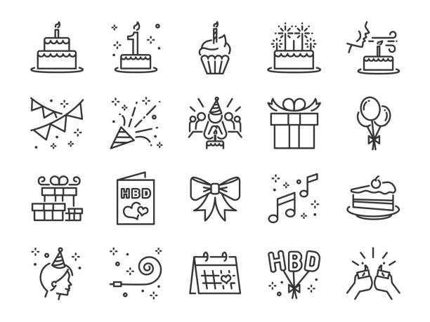 happy birthday party line icon set. included the icons as celebration, anniversary, party, congratulation, cake, gift, decoration and more. - happy birthday cake stock illustrations, clip art, cartoons, & icons