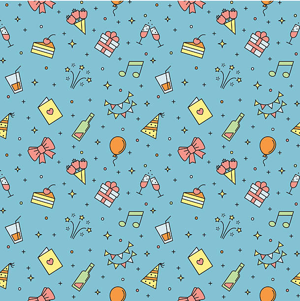 Happy birthday party multicolored vector seamless pattern. Happy birthday party multicolored vector seamless pattern. Modern outline minimalistic design. cartoon of birthday cake outline stock illustrations