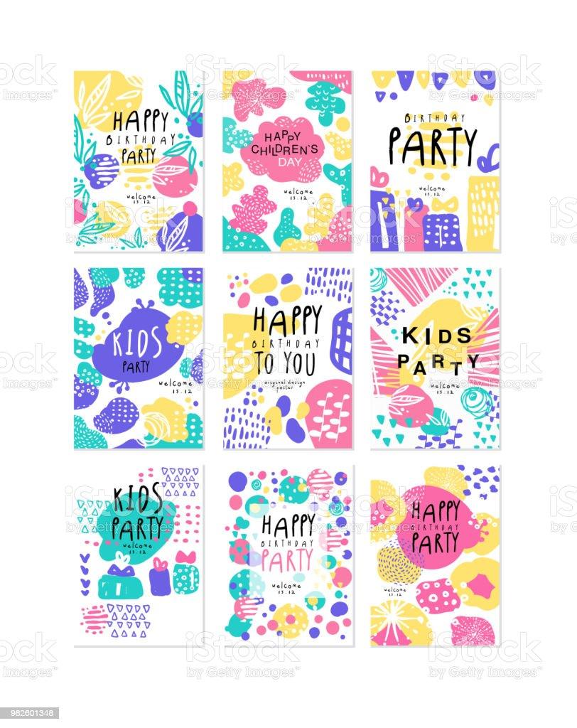 Ilustración de Feliz Cumpleaños Original Diseño Carteles Juego De ...