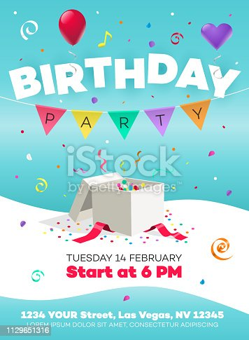 istock Happy birthday party poster invitation template with gift, colorful balloons and ribbons 1129651316