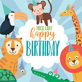 Happy Birthday party poster with cartoon animals