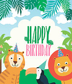 Happy Birthday party poster with cartoon animals. Vector illustration