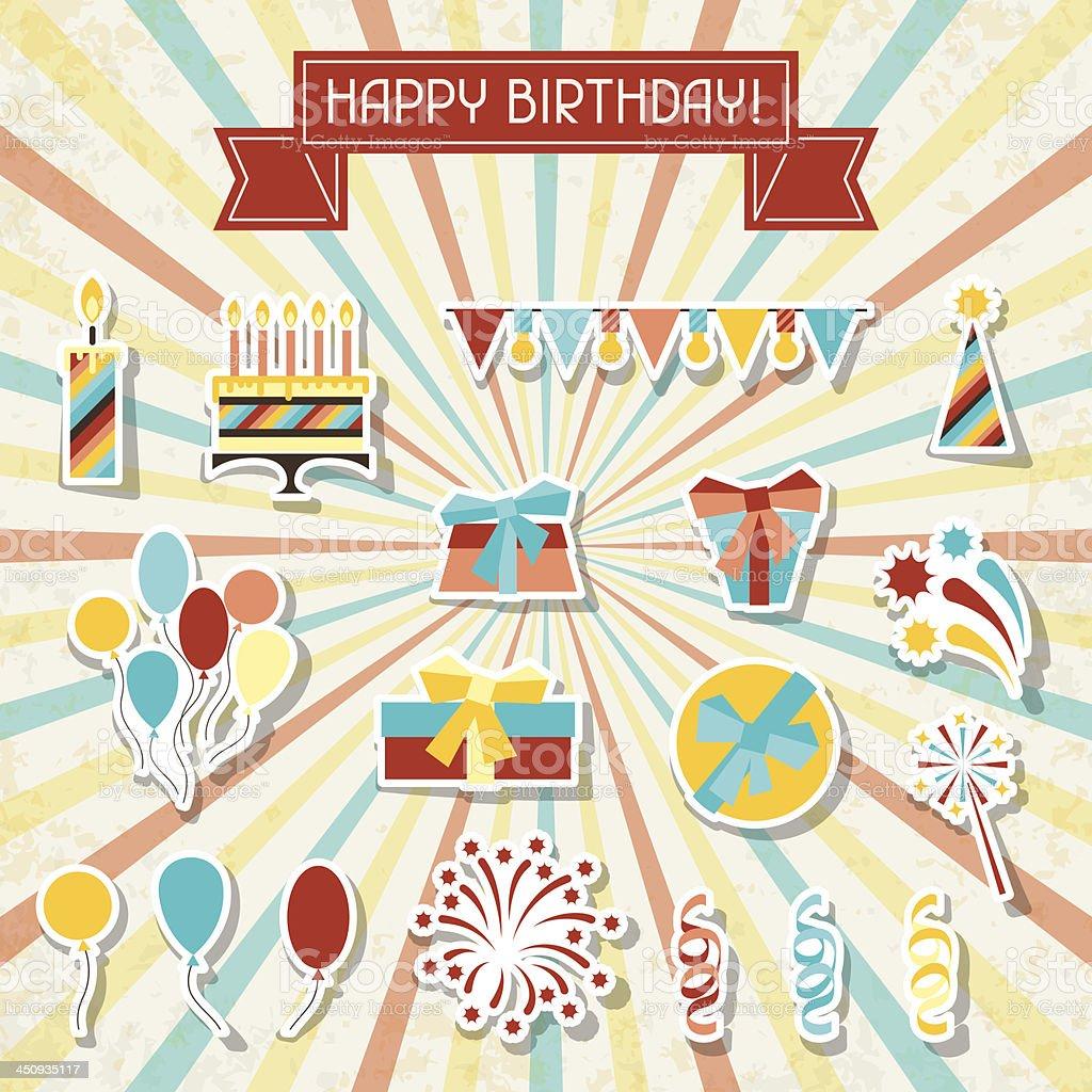 Happy Birthday party sticker icons set. royalty-free stock vector art