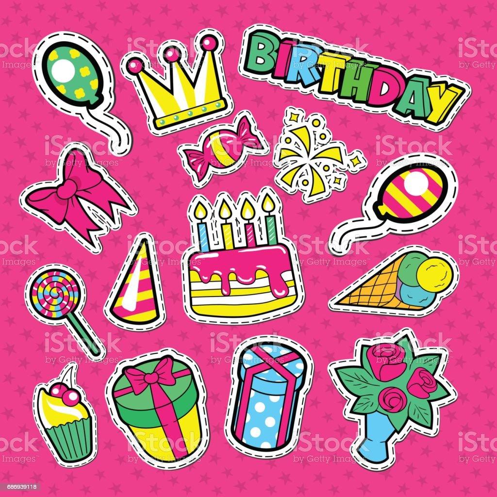 Happy Birthday Party Aufkleber Abzeichen Lizenzfreies Stock Vektor Art Und