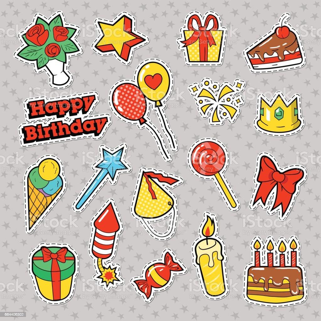 Happy Birthday Party Sticker Mit Kuchen Lizenzfreies Stock Vektor Art