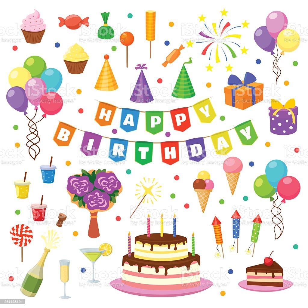Famous Herzlichen Glückwunsch Zum Geburtstag Partysymbole Vektor Stock  ON69