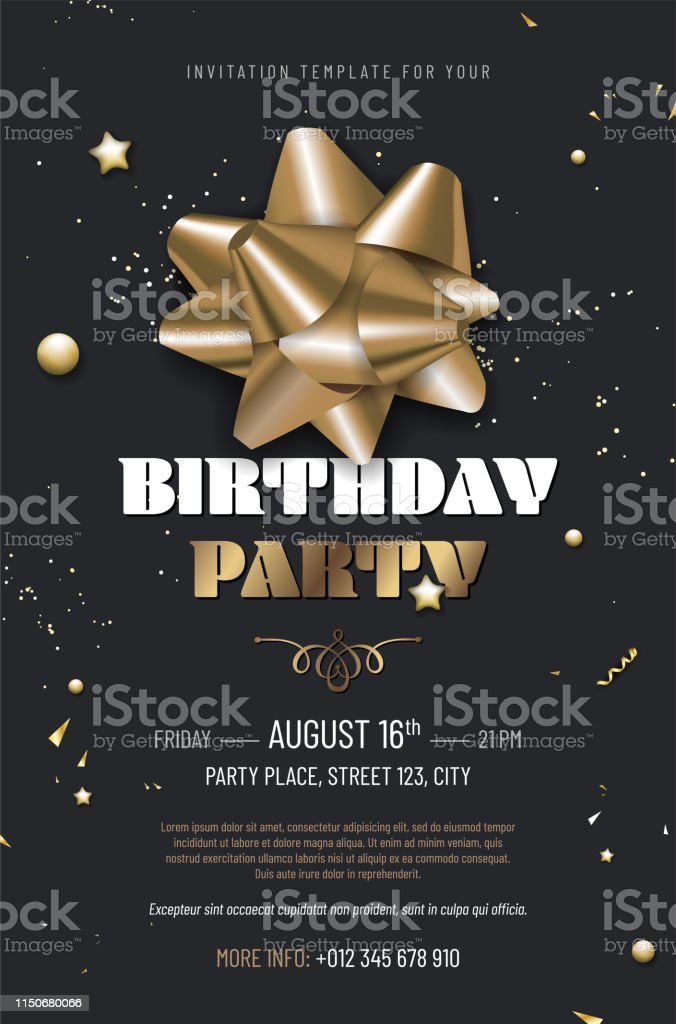 Happy birthday party template with golden ribbon on dark background...