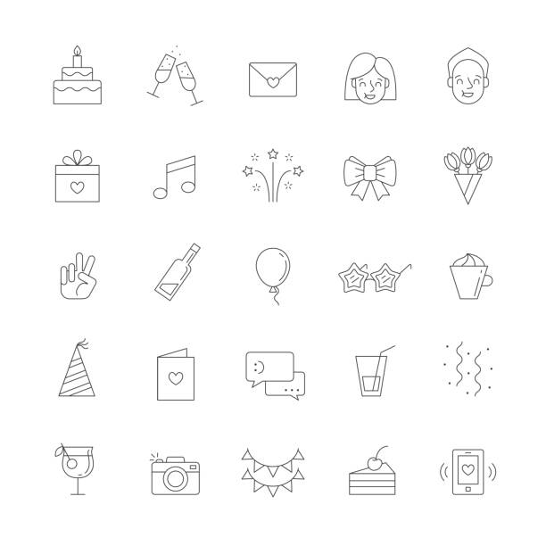 Happy birthday party vector big outline icon set. Happy birthday party vector big outline icon set. Clear and simple design. cartoon of birthday cake outline stock illustrations