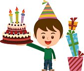 Happy birthday boy, cake with presents!