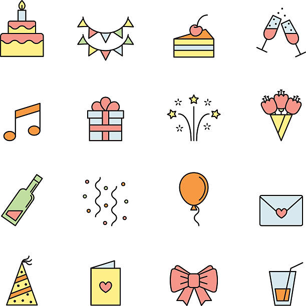 Happy birthday party vector multicolored icons set. Happy birthday party vector multicolored icons set. Modern outline minimalistic design. cartoon of birthday cake outline stock illustrations