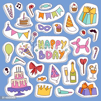 Happy Birthday Party Vector Symbols Carnival Festive Illustration