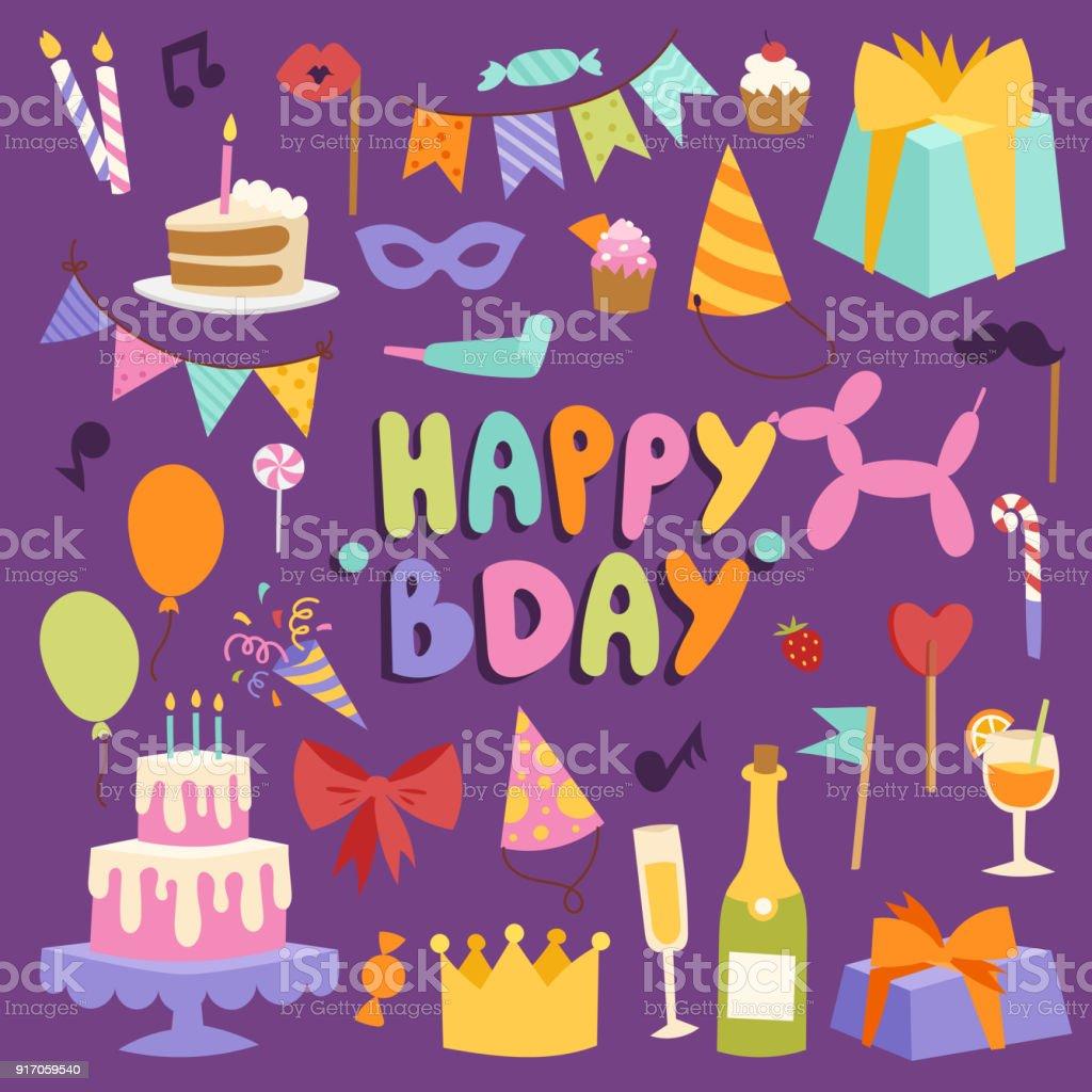 Happy Birthday Party Vektor Karneval Festliche Abbildung Setzen Bunte Symbole Zum Geburtstag Partytime Hut