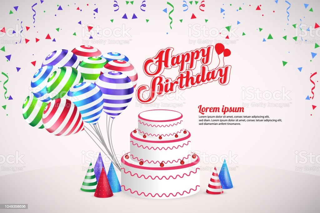 happy birthday party vector template design background stock vector