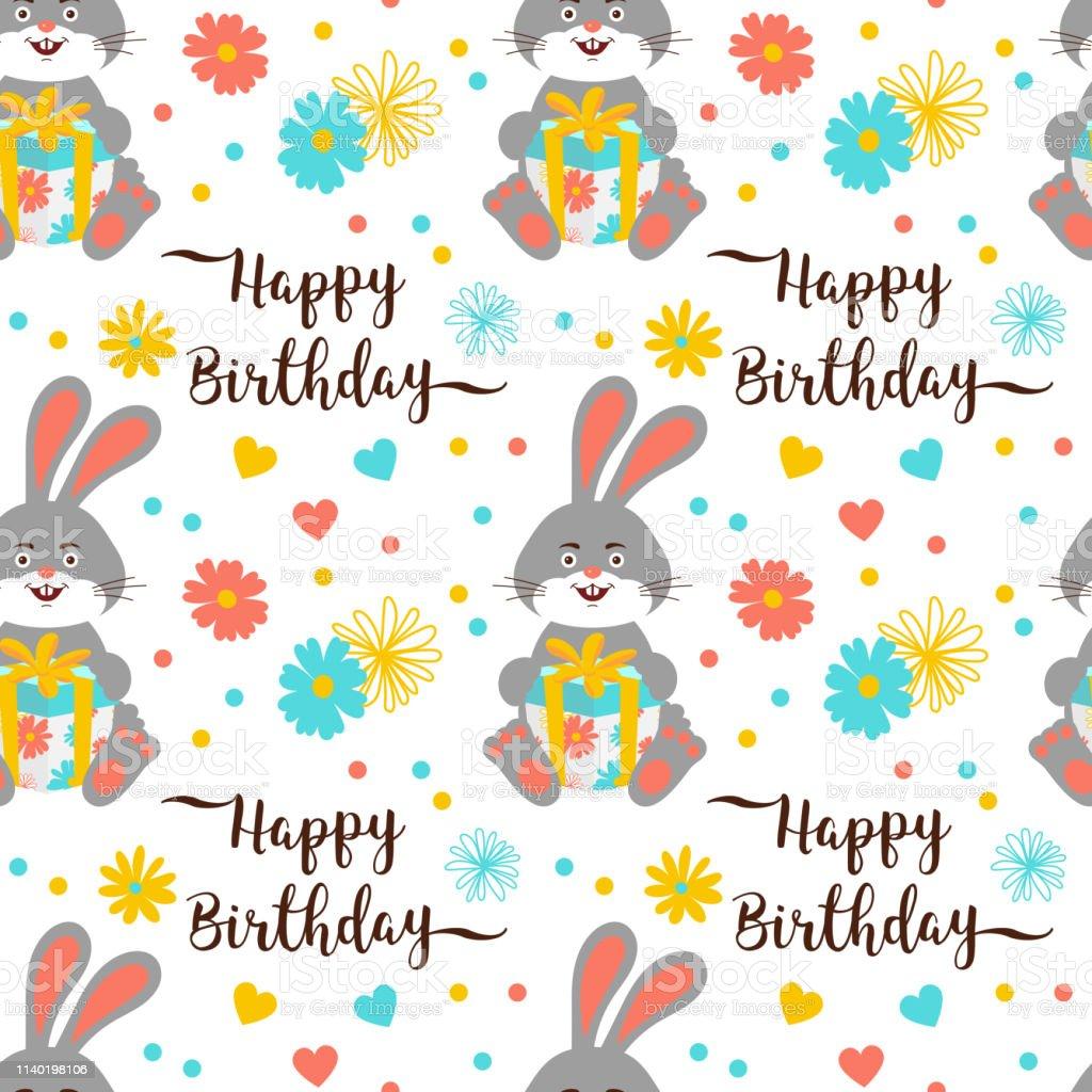 Happy Birthday pattern seamless, Trendy birthday lettering and...