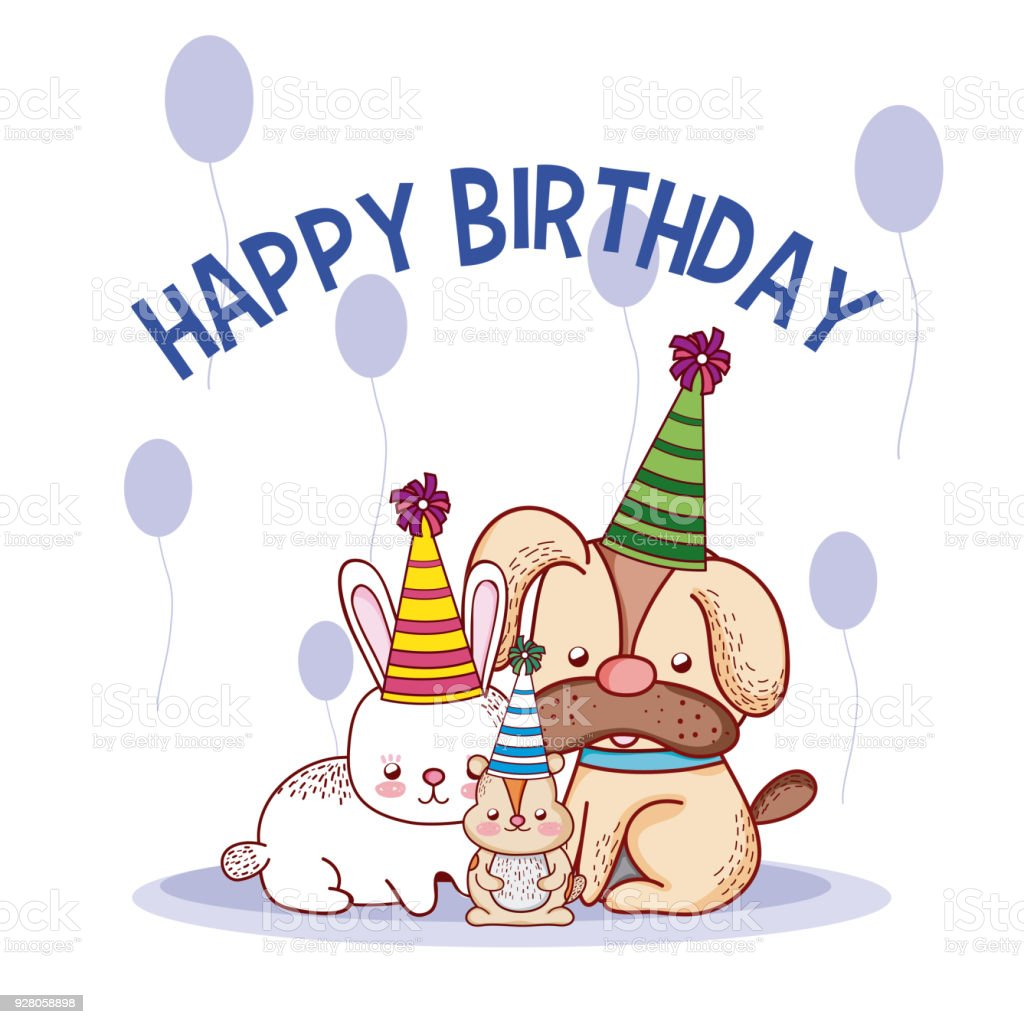 Happy Birthday Pets Cartoons Stock Vector Art More Images Of