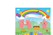 The three little pigs are celebrating a happy birthday. There's a label with space for your text.