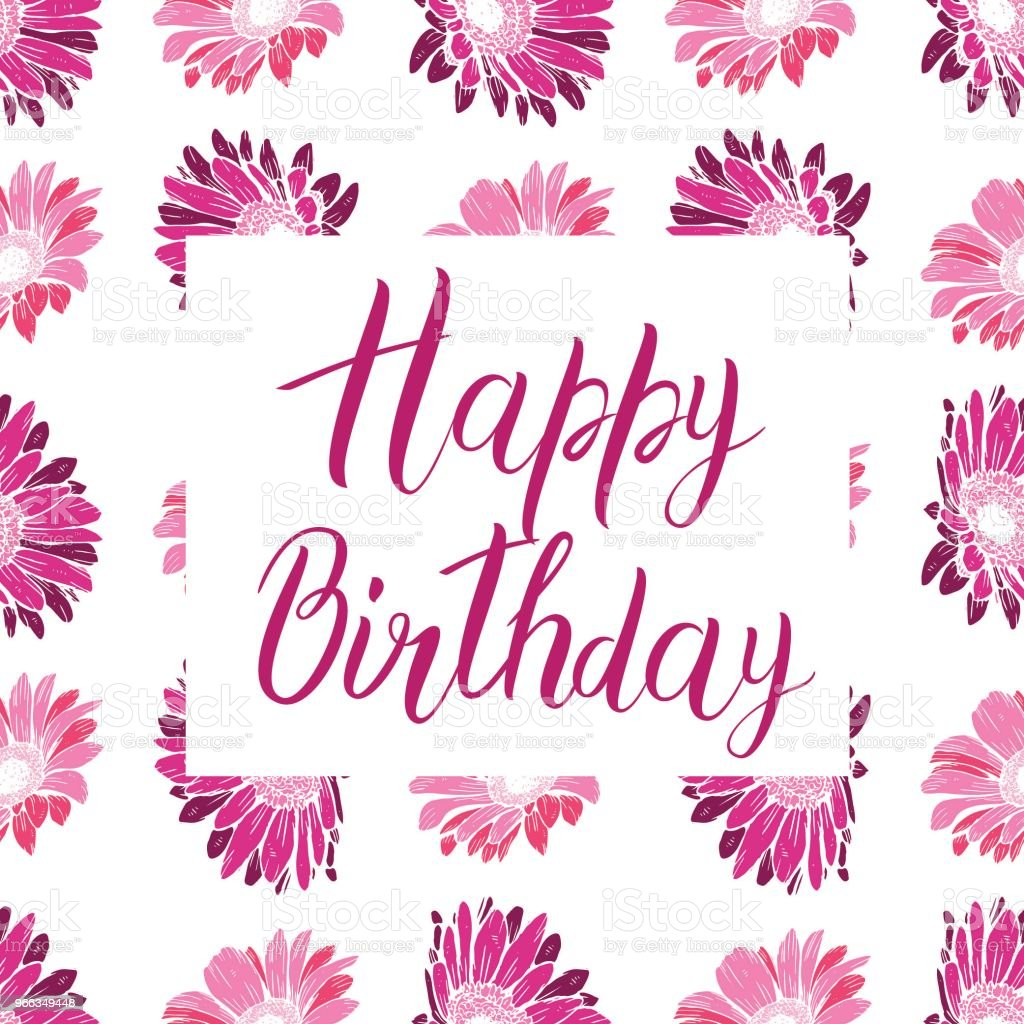 Happy birthday pink text on a flower background festive typography happy birthday pink text on a flower background festive typography vector designs for greeting cards izmirmasajfo