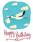 Happy birthday postcard concept  with a stork and a baby in a bag. Stork flying in the sky