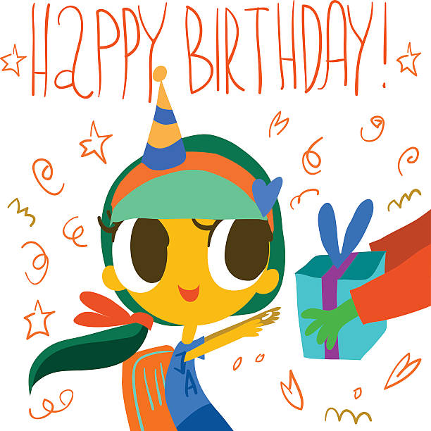 Happy birthday postcard. vector art illustration