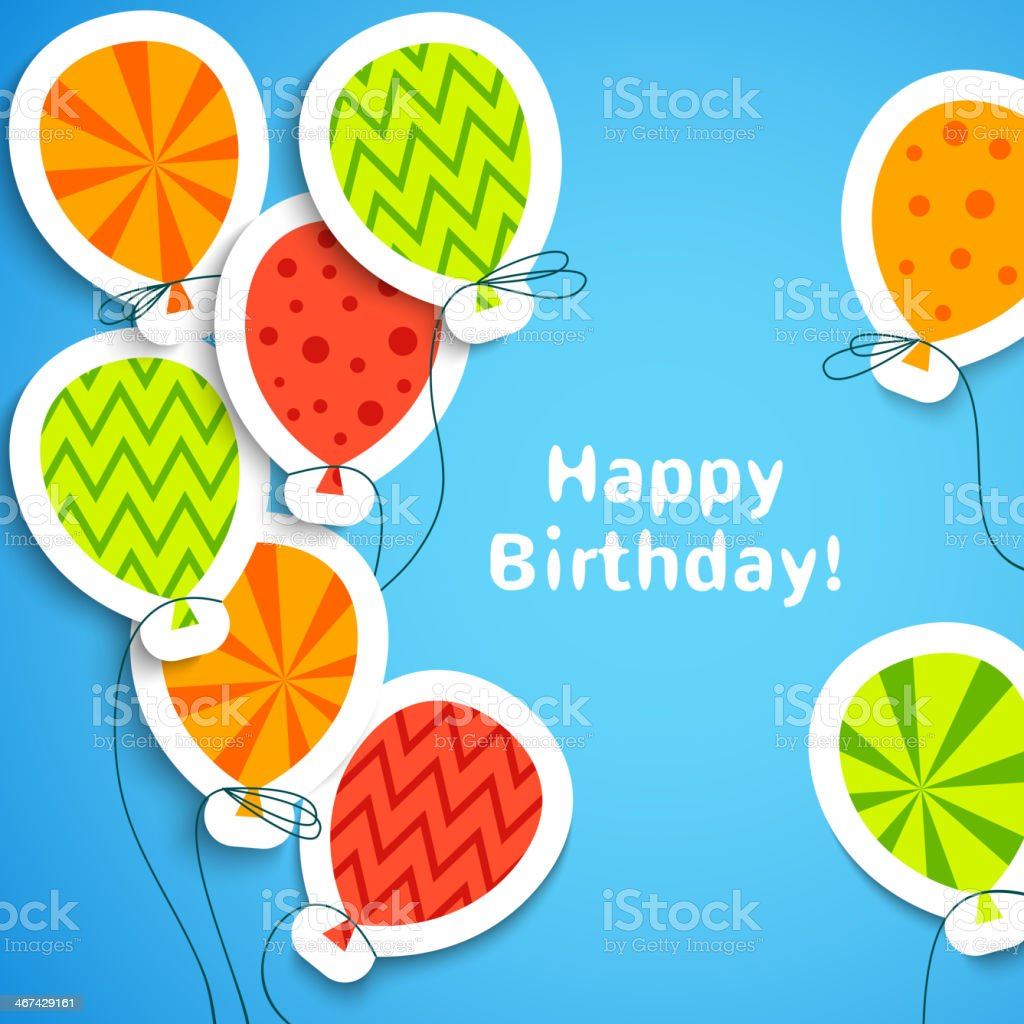 Happy birthday postcard with balloons. Vector illustration vector art illustration