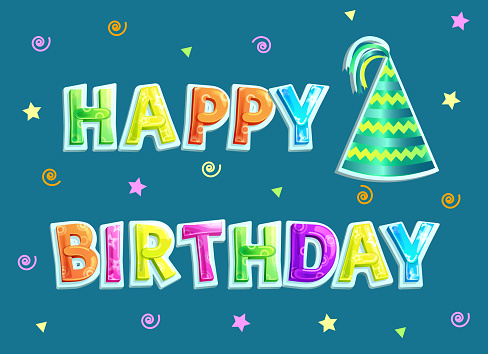 Happy Birthday Poster and Text Vector Illustration