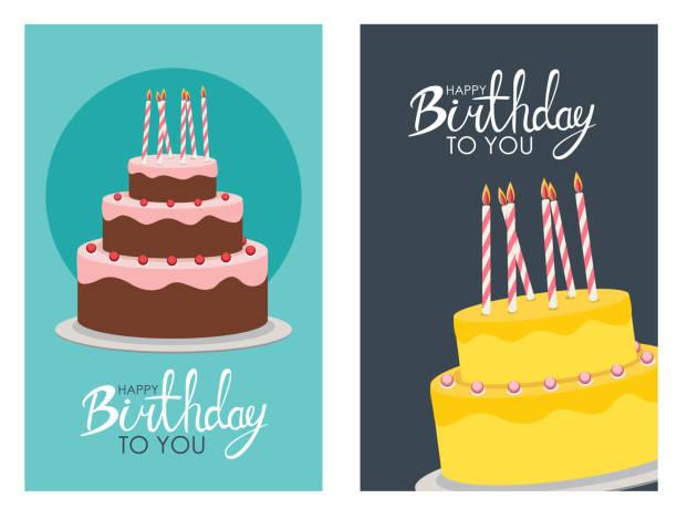 happy birthday plakat hintergrund mit kuchen. vektor-illustration - geburtstagstorte stock-grafiken, -clipart, -cartoons und -symbole
