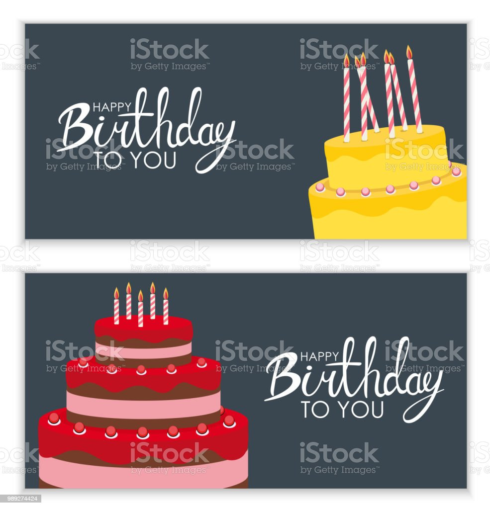 happy birthday poster background with cake vector illustration stock