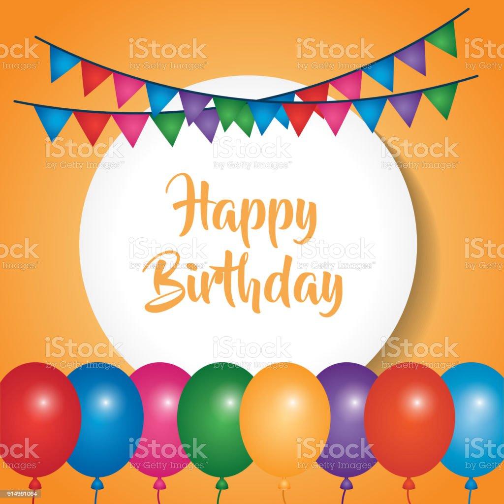 happy birthday poster celebration party balloons pennants stock