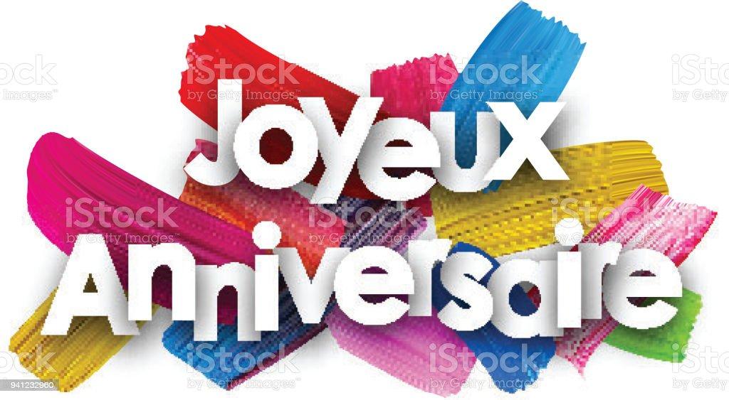 Affiche De Joyeux Anniversaire Avec Des Coups De Pinceau Cliparts
