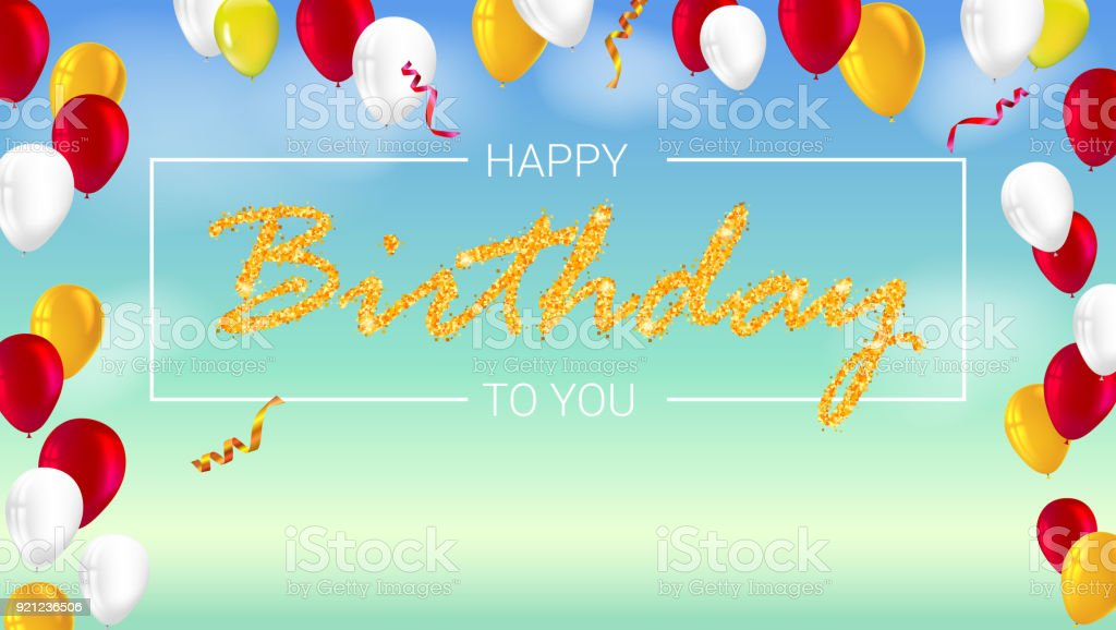 Glücklich Geburtstag Poster Mit Glänzend Bunten Luftballons Mit ...