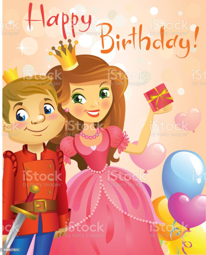 Joyeux Anniversaire Princesse Et Prince Carte De Voeux Vecteurs Libres De Droits Et Plus D Images Vectorielles De Amour Istock