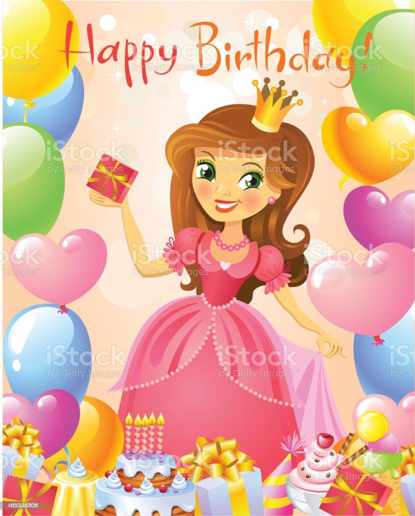 Happy Birthday Princess Greeting Card Stock Vector Art More Images