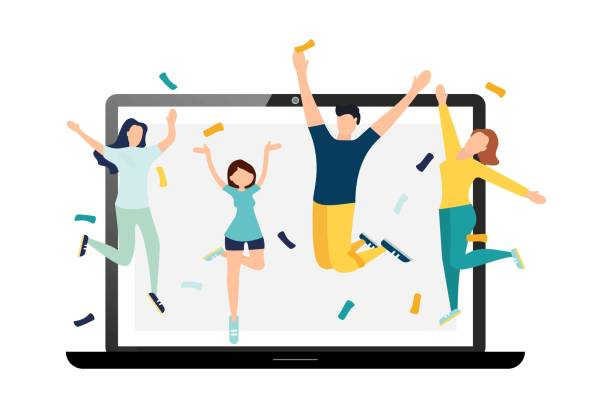 ilustraciones, imágenes clip art, dibujos animados e iconos de stock de feliz cumpleaños cuarentena, fiesta en línea. ilustración vectorial. - zoom meeting