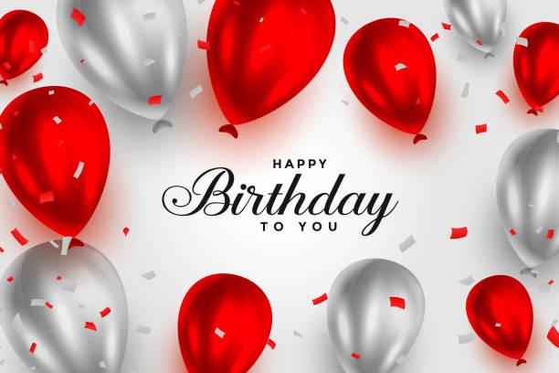 happy birthday red and white shiny balloons background happy birthday red and white shiny balloons background happy birthday stock illustrations
