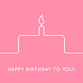 Happy birthday retro postcard with cake icon. Vector illustration