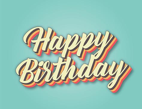 Happy Birthday. Retro style lettering stock illustration. Invitation or greeting card stock illustration